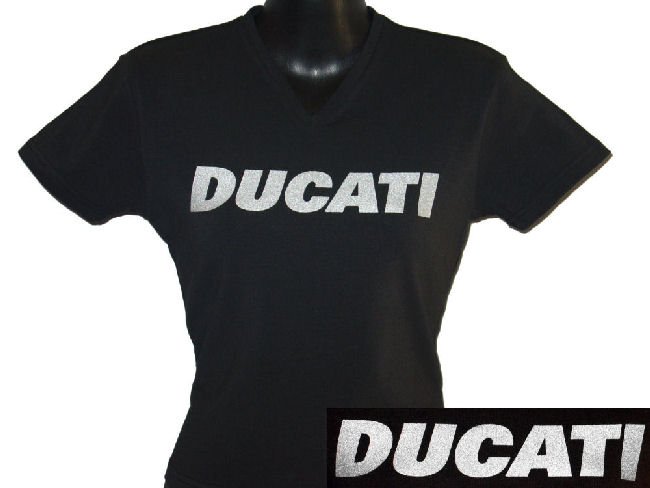 ducati v neck t shirt womans block print in shimmer on bl gowanloch ducati. Black Bedroom Furniture Sets. Home Design Ideas