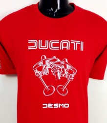 Ducati T-Shirt Mens Valve Picture T3 Red with White print