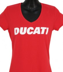 Ducati V-Neck Womans Block on Red TShirt