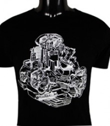 Ducati T-Shirt Mens Bevel Engine Cutaway T10 Black