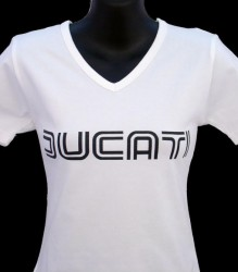 Ducati V-Neck T-Shirt Womans Lg Twin Line W1 White