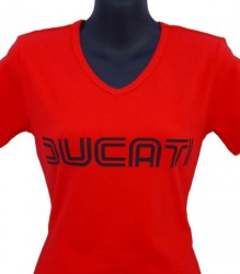 Ducati V-Neck T-Shirt Womans Lg Twin Line on Red – Discontinued Limited Stock