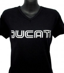Ducati V-Neck T-Shirt Womans Lg Twin Line W1 Black