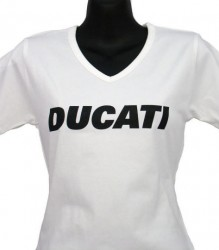 Ducati V-Neck T-Shirt Womans Block W6 White