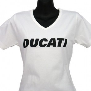 ducatitshirtwomansvneckw6white