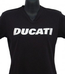 Ducati V-Neck T-Shirt Womans Block W6 Black