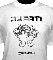 Ducati T-Shirt Mens Valve Picture T3 White