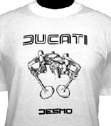 Ducati T-Shirt Mens Valve Picture T3 White