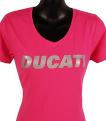 Ducati V-Neck T-Shirt Womans Block Print in Shimmer on Pink