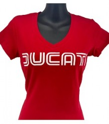 Ducati V-Neck T-Shirt Womans Lg Twin Line on Red