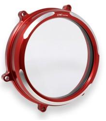 CNC RACING Ducati Panigale Clear Oil Bath Clutch Cover – CA200 – RED/SILVER
